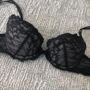 Frederick's Black Lace Push-Up Bra